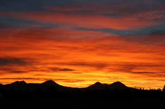 Orange Sunset In Bend Oregon