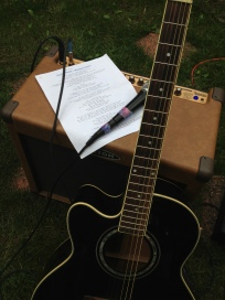 Guitar, Amplifier And Music In Yard