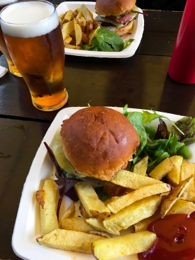 Burger, Fries And A Beer