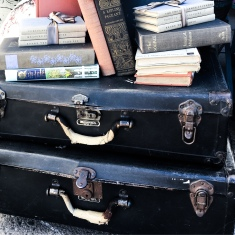 Vintage Suitcases And Books